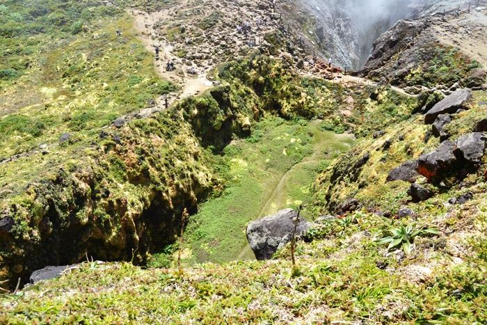 Der Vulkankrater vom La Soufriere