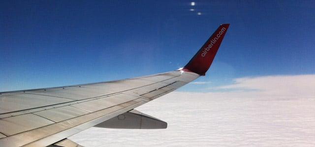 Air Berlin Flugzeug in der Luft
