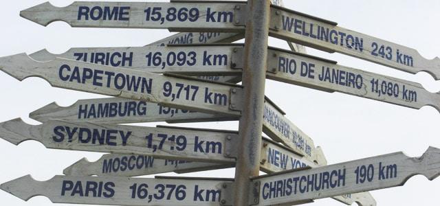 Wegweiser zu verschiedenen Städten weltweit