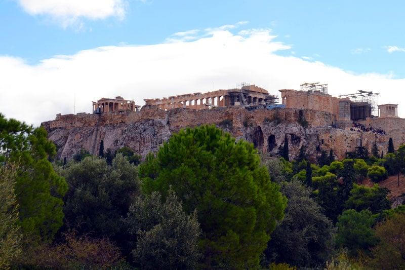 Athen mit dem Fahrrad: Blick auf die Akropolis