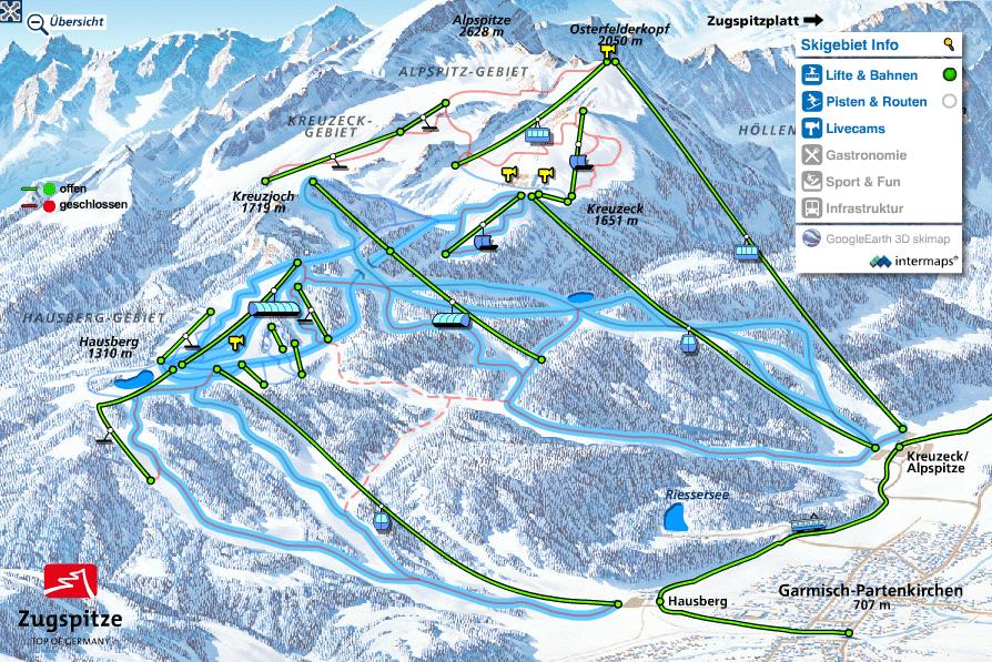 Skigebiete in Deutschland: Pistenplan von Garmisch Classic