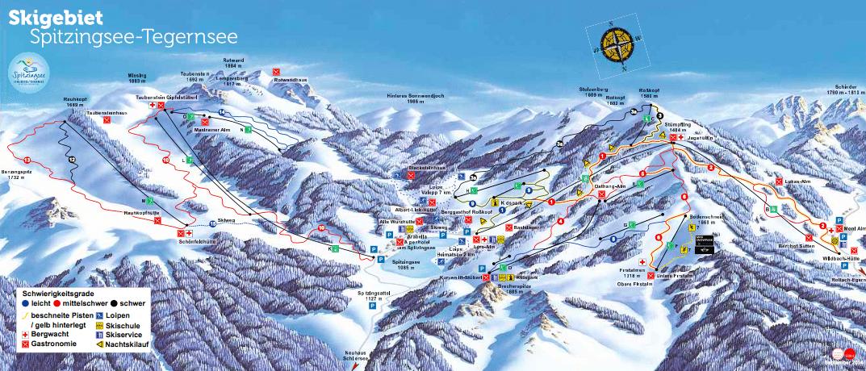 Pistenplan Skigebiet Spitzingsee Tegernsee