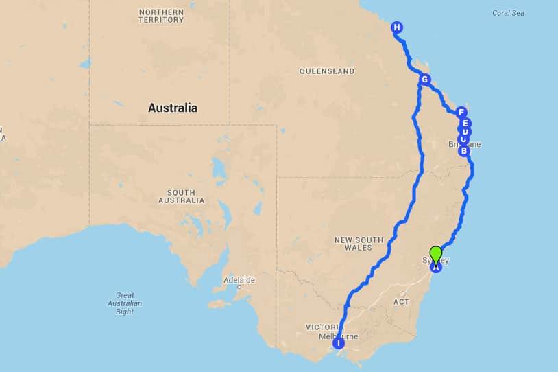 Karte Australien Ostküste