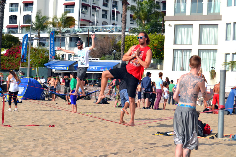Sport am Santa Monica Beach, Los Angeles, Kalifornien