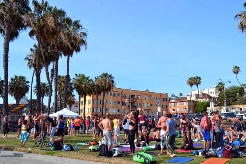 Sport am Santa Monica Beach, Los Angeles, Kalifornien