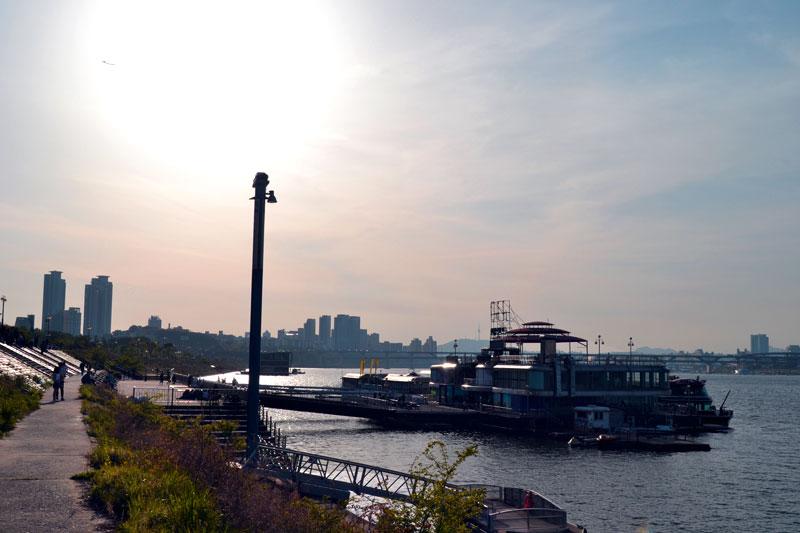 Sonnenuntergang im Namsil Hangang Park, Hangang River, Seoul