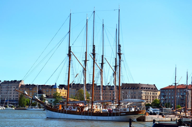 Viermaster Segelschiff im Hafen von Helsinki, Finnland