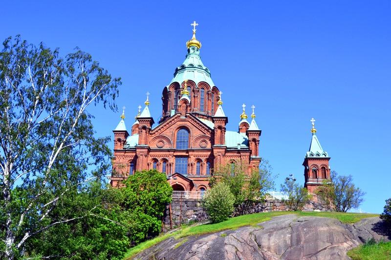 Uspenski Kathedrale im Hafen von Helsinki, Finnland