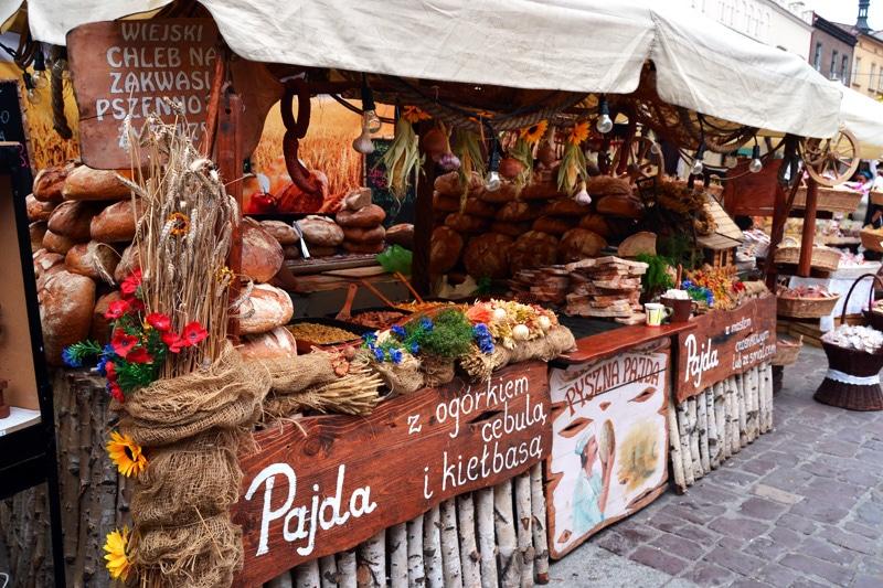 Streetfood am Markt von Krakau, Polen