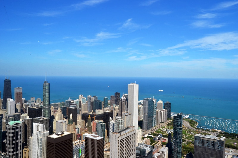 Chicago Sehenswürdigkeiten: Chicago Ausblick vom Willis Tower