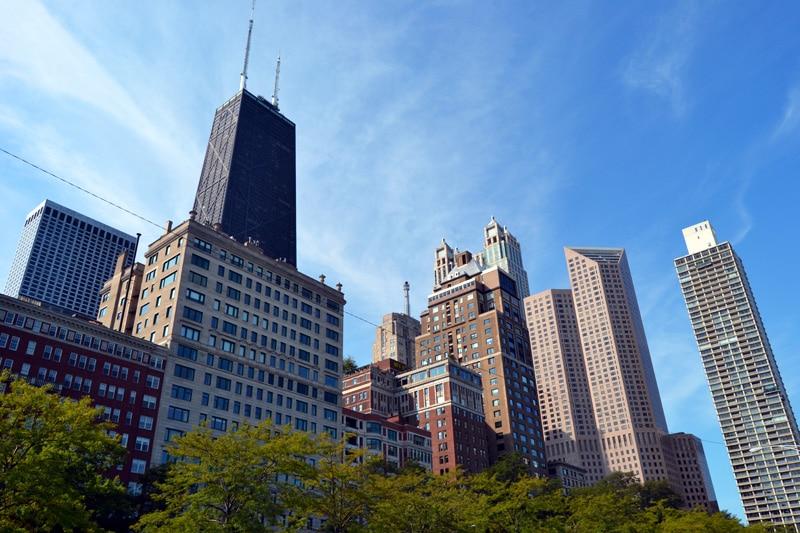 Chicago Sehenswürdigkeiten: Michigan Avenue Skyline von Chicago