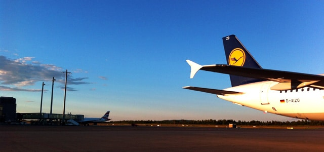 Lufthansa Flugzeug am Airport Oslo
