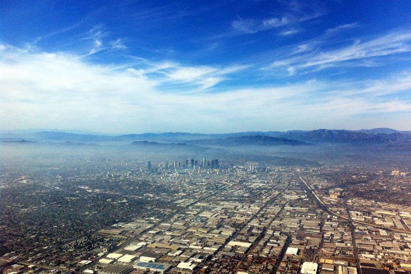 Los Angeles Blick aus dem Cockpit