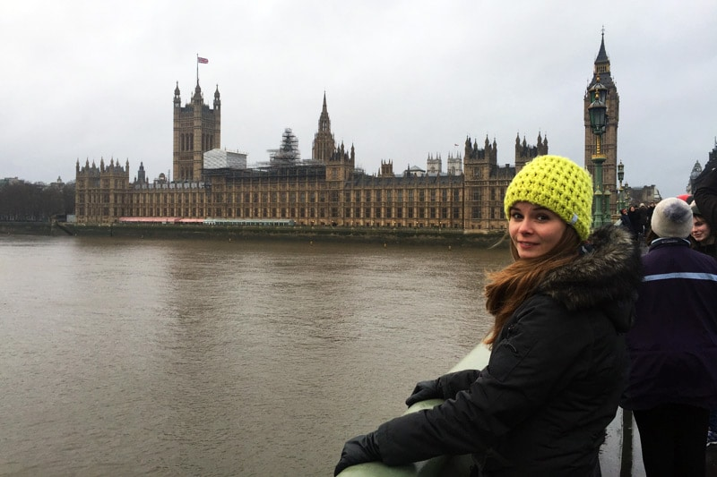 Franziska Reichel Coconut Sports vor dem Westminster Abbey London