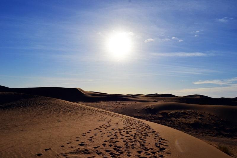 Sanddünen in der Sahara Wüste von Marokko
