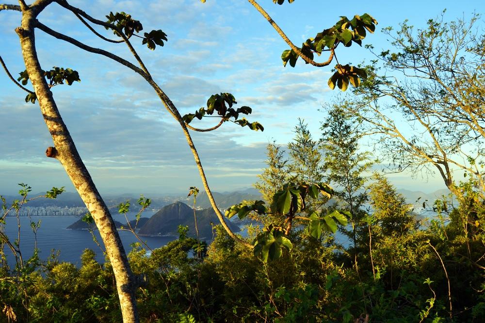 Zuckerhut (Pao de Acucar) in Rio de Janeiro, Brasilien, zum Sonnenuntergang