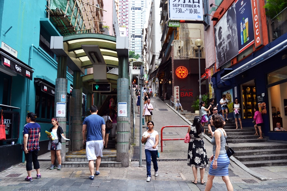 Hongkong Sehenswürdigkeiten Mid Levels Escalator Rolltreppe in Central Hongkong Island