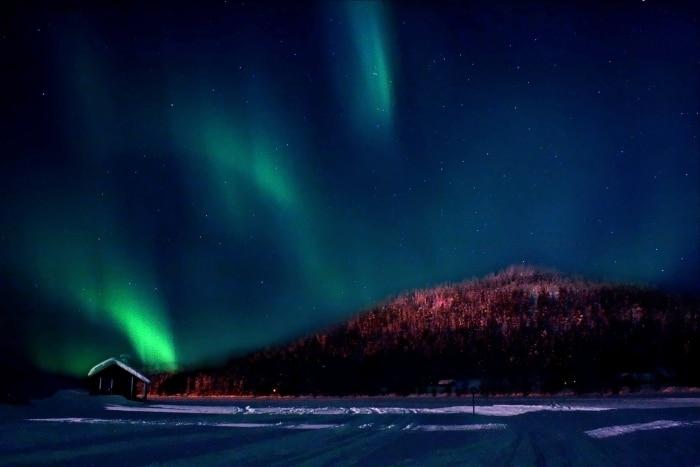 Aurora Borealis Nordlichter in Yllas, Lappland