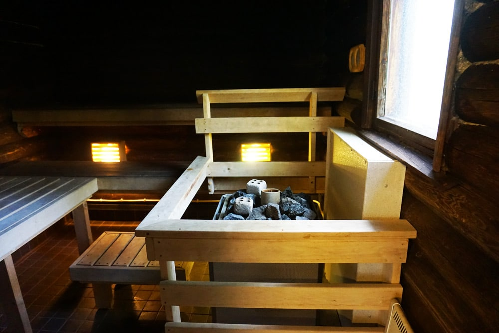 Sauna im Rantalinna Schlosshotel am Saimaa See in Finnland