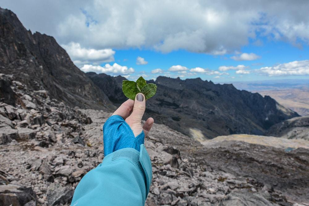 Lares Trek nach Machu Picchu: Tag 2 Trekking in Peru - Gipfel auf 4.800 Metern - opfern von Cocablättern