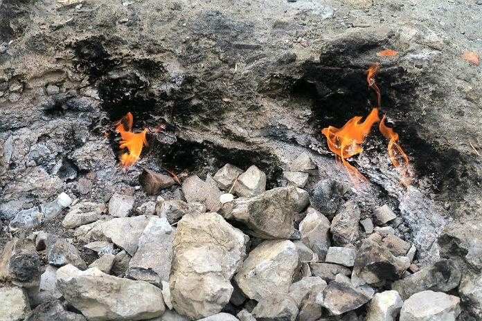 Cirali Olympos, Lykische Küste: das brennende Gasfeld Yanartas-Chimera