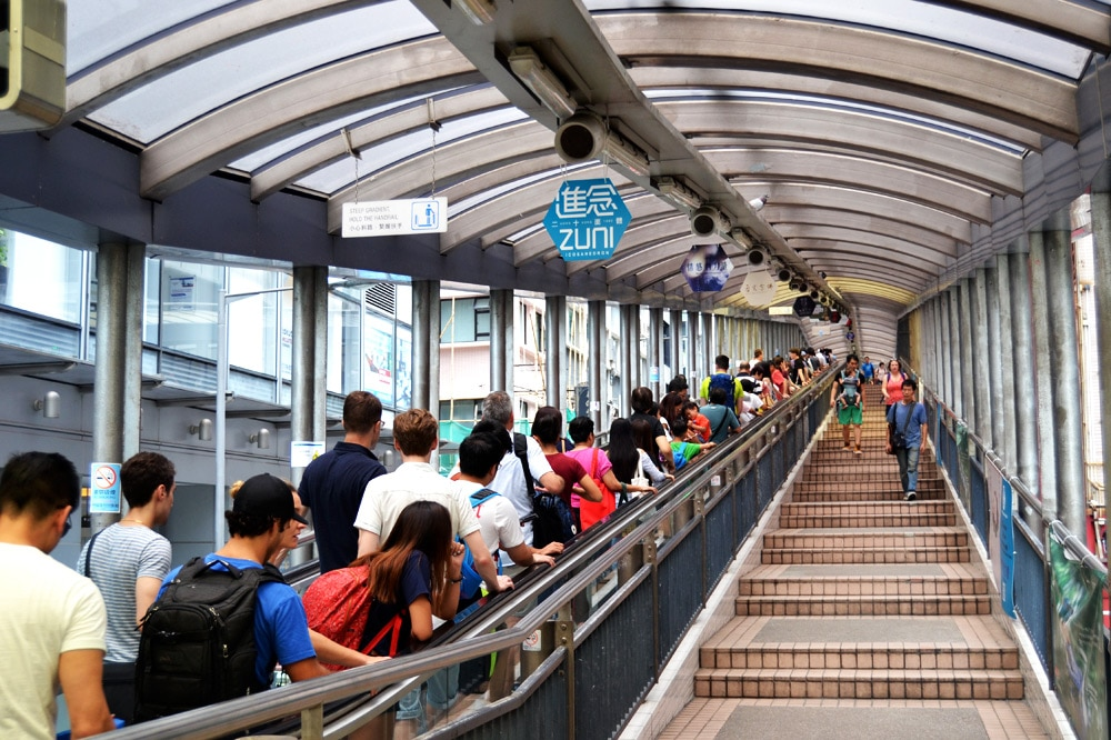 Hong Kong Reise: Mid Levels Escalators - Rolltreppen in Central