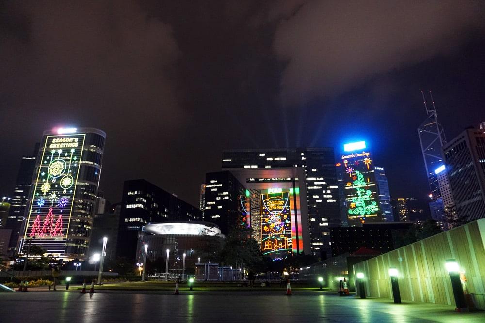 Hong Kong Reise: Lichtshow an der Skyline vom Victoria Harbour