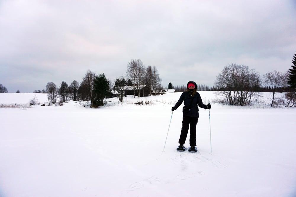 Jyväskylä in Lakeland, Finnland: Schneeschuhwandern