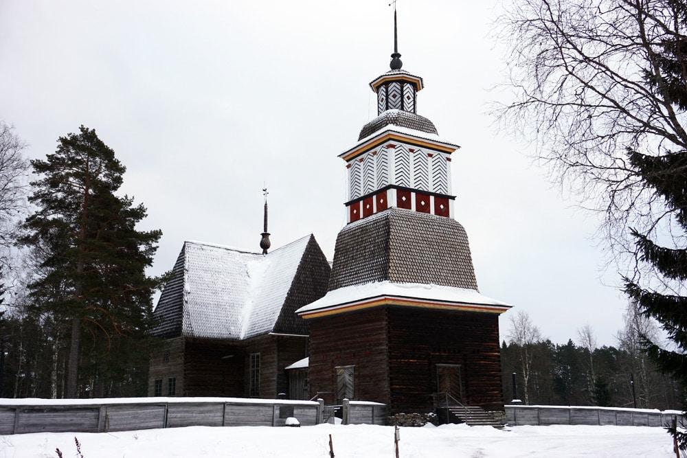 Jyväskylä in Lakeland, Finnland: die zum UNESCO-Weltkulturerbe gehörende Kirche Petäjävesi.