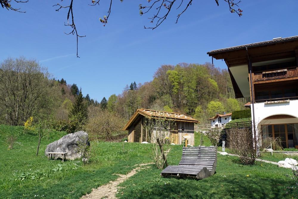 Berghotel Rehlegg in Ramsau bei Berchtesgaden: Außensauna Textil