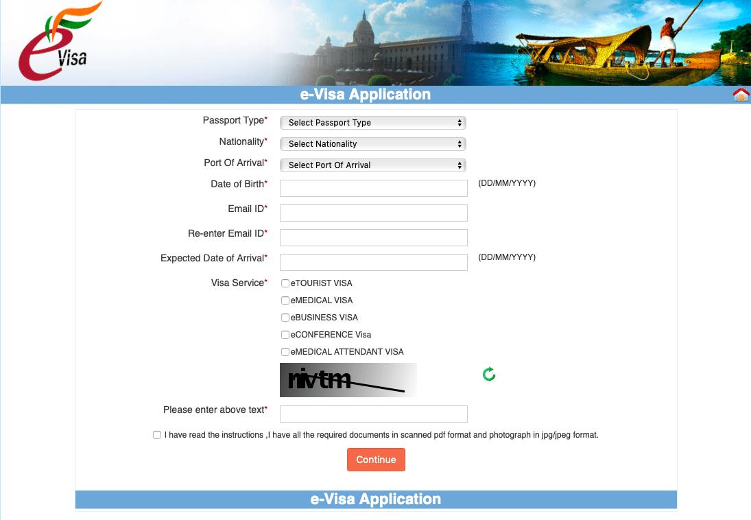 Antragsformular e-Visum für Indien