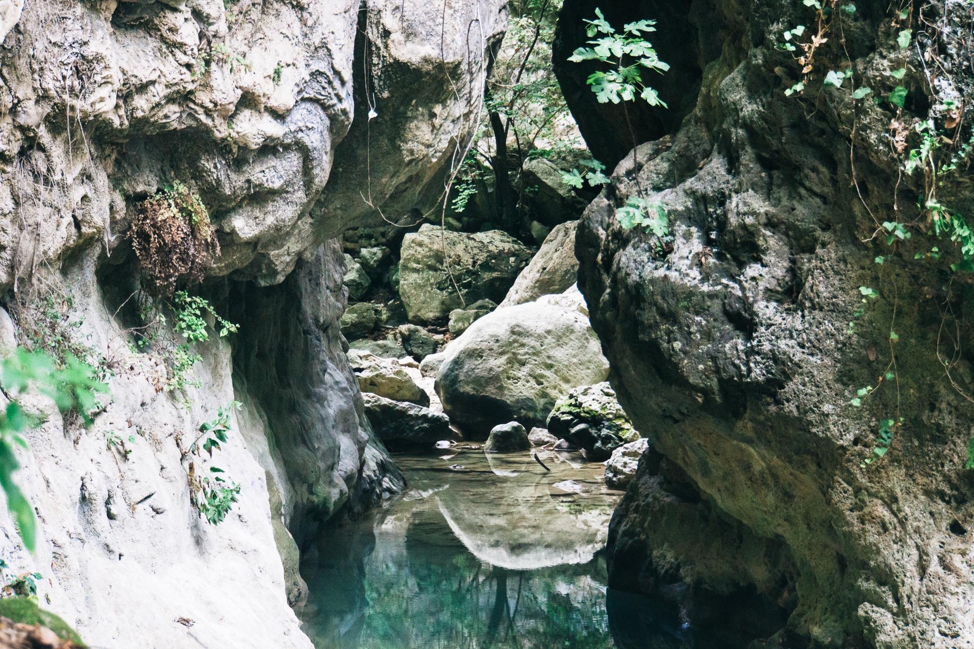 Dimosari Wasserfall, Lefkada, Griechenland