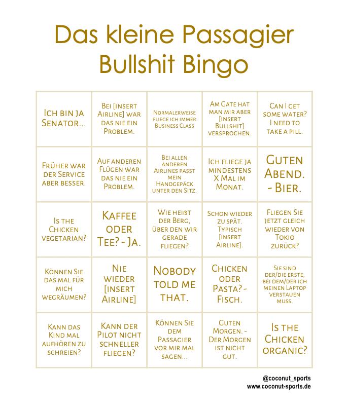 Passagier Bullshit Bingo: Nervtötende Sprüche von Vielfliegern & Co.
